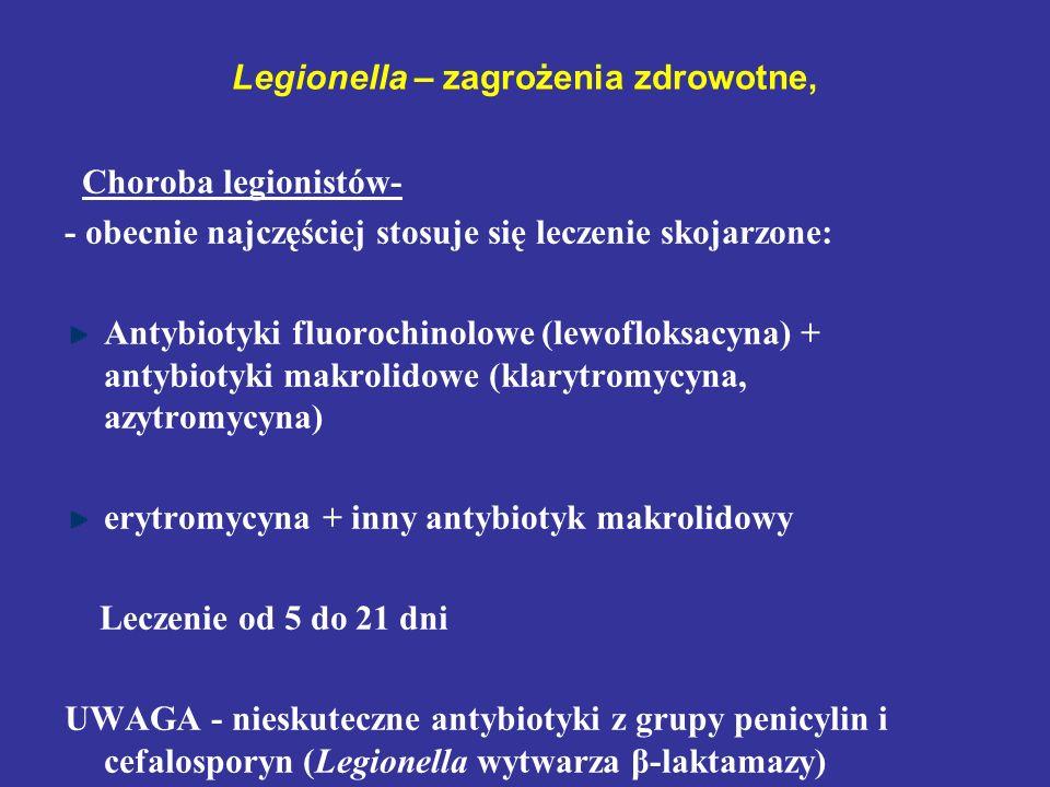 Legionella – zagrożenia zdrowotne, Choroba legionistów- - obecnie najczęściej stosuje się leczenie skojarzone: Antybiotyki fluorochinolowe (lewofloksa