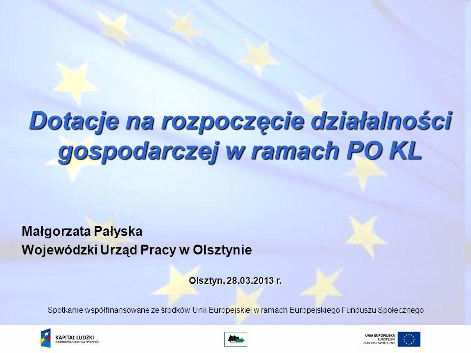 Dotacje na rozpoczęcie działalności gospodarczej w ramach PO KL Małgorzata Pałyska Wojewódzki Urząd Pracy w Olsztynie Spotkanie współfinansowane ze śr