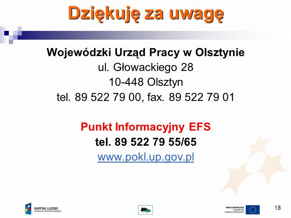 18 Dziękuję za uwagę Wojewódzki Urząd Pracy w Olsztynie ul. Głowackiego 28 10-448 Olsztyn tel. 89 522 79 00, fax. 89 522 79 01 Punkt Informacyjny EFS