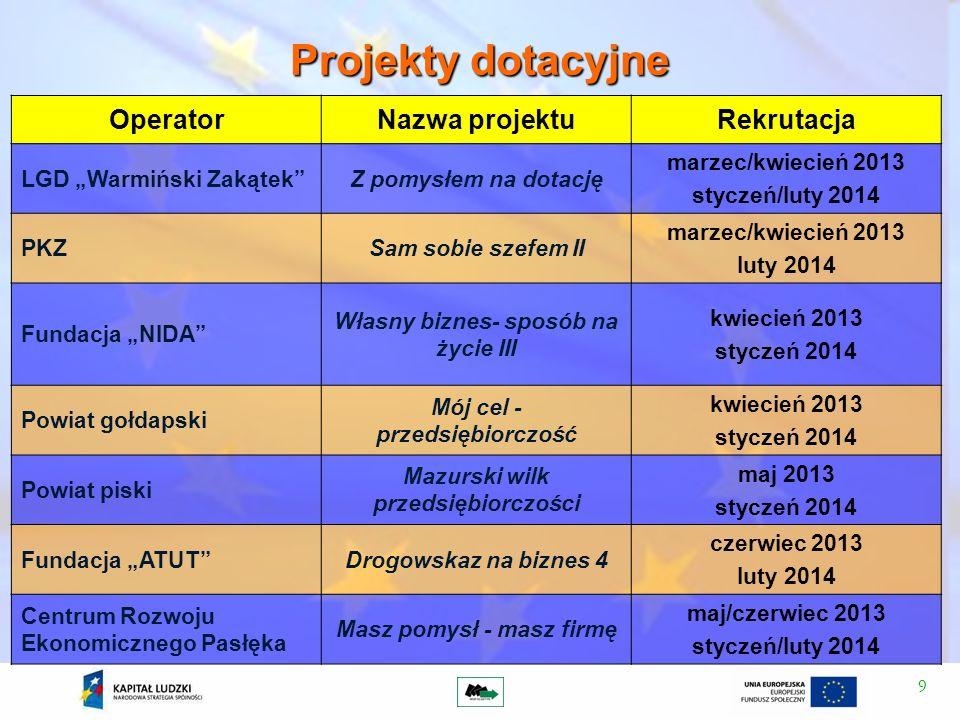 9 Projekty dotacyjne OperatorNazwa projektuRekrutacja LGD Warmiński ZakątekZ pomysłem na dotację marzec/kwiecień 2013 styczeń/luty 2014 PKZSam sobie s
