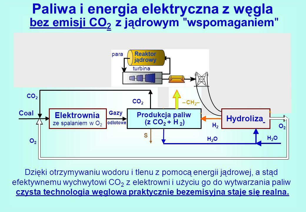 Paliwa i energia elektryczna z węgla bez emisji CO 2 z jądrowym