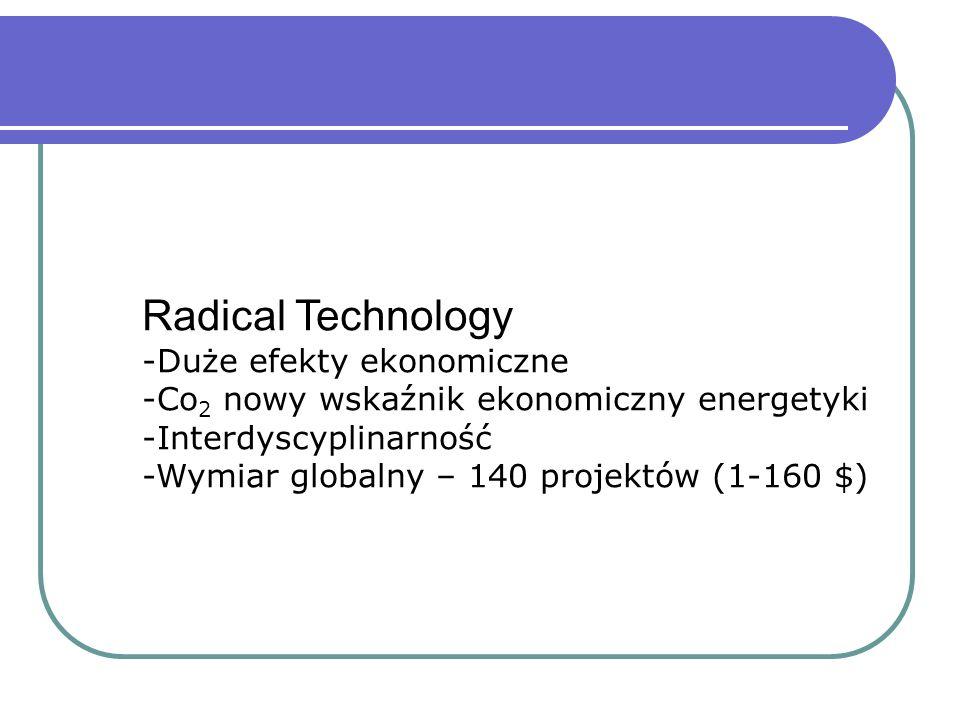 Radical Technology -Duże efekty ekonomiczne -Co 2 nowy wskaźnik ekonomiczny energetyki -Interdyscyplinarność -Wymiar globalny – 140 projektów (1-160 $)