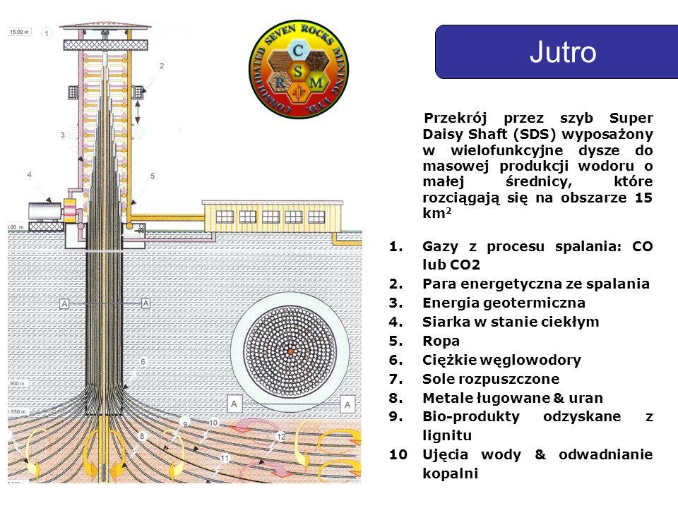 Przekrój przez szyb Super Daisy Shaft (SDS) wyposażony w wielofunkcyjne dysze do masowej produkcji wodoru o małej średnicy, które rozciągają się na obszarze 15 km 2 1.Gazy z procesu spalania: CO lub CO2 2.Para energetyczna ze spalania 3.Energia geotermiczna 4.Siarka w stanie ciekłym 5.Ropa 6.Ciężkie węglowodory 7.Sole rozpuszczone 8.Metale ługowane & uran 9.Bio-produkty odzyskane z lignitu 10Ujęcia wody & odwadnianie kopalni Jutro