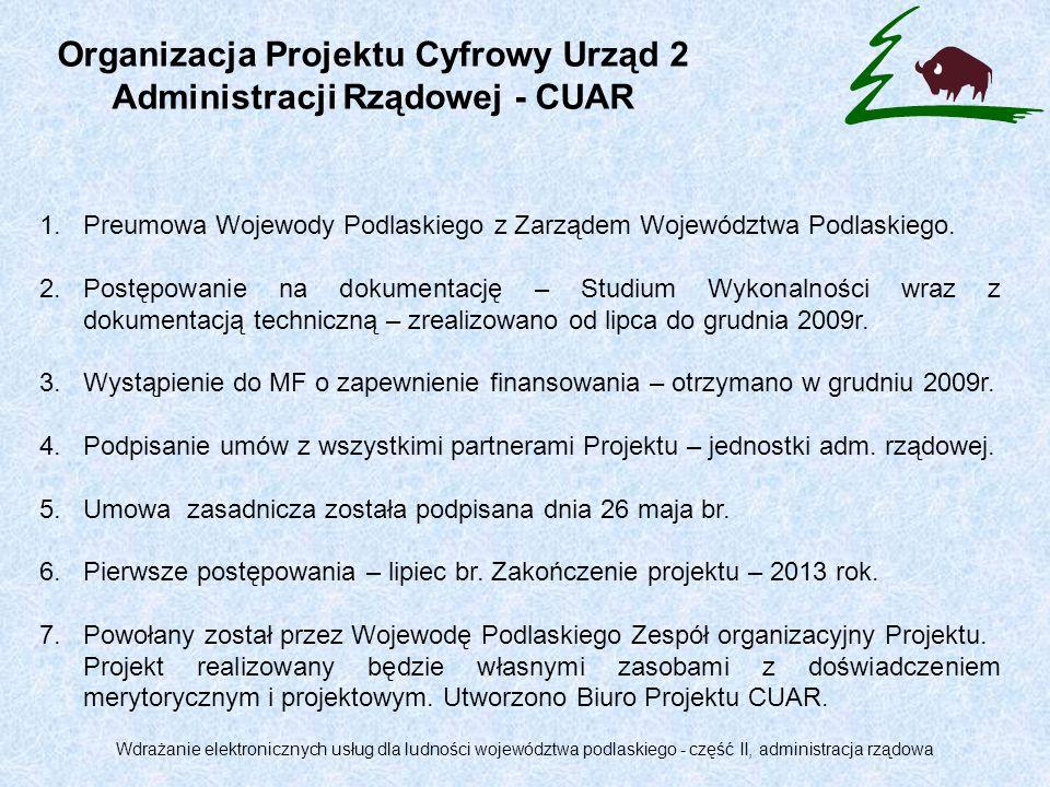 1.Podlaski Urząd Wojewódzki w Białymstoku – beneficjent, realizator Projektu.