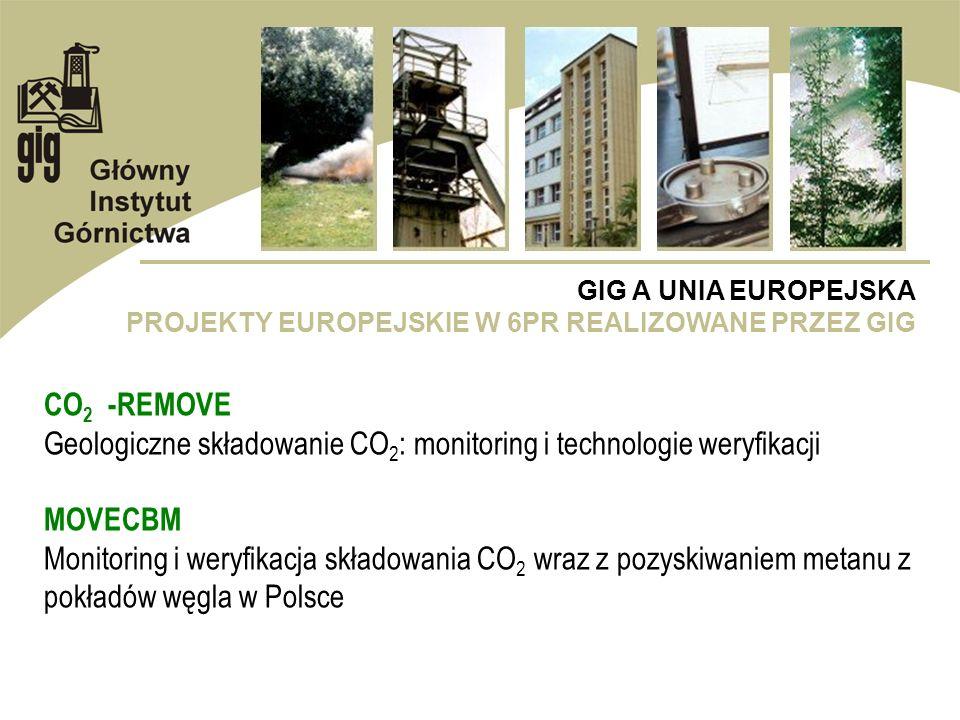 GIG A UNIA EUROPEJSKA PROJEKTY EUROPEJSKIE W 6PR REALIZOWANE PRZEZ GIG CO 2 -REMOVE Geologiczne składowanie CO 2 : monitoring i technologie weryfikacj