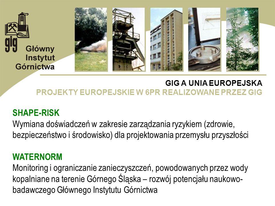 GIG A UNIA EUROPEJSKA PROJEKTY EUROPEJSKIE W 6PR REALIZOWANE PRZEZ GIG SHAPE-RISK Wymiana doświadczeń w zakresie zarządzania ryzykiem (zdrowie, bezpie
