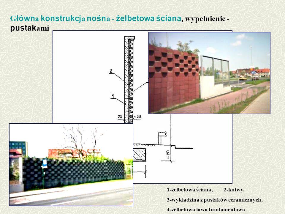 G łówn a konstrukcj a nośn a - żelbetowa ściana, wypełnienie - pustak ami 1-żelbetowa ściana, 2-kotwy, 3-wykładzina z pustaków ceramicznych, 4-żelbetowa ława fundamentowa