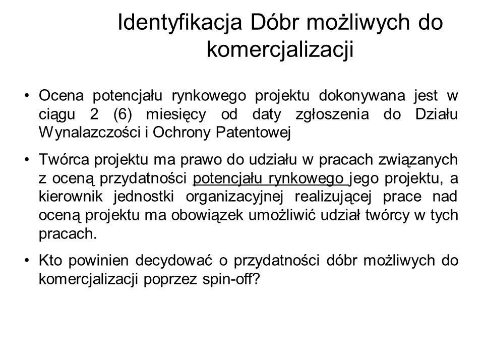 Identyfikacja Dóbr możliwych do komercjalizacji Ocena potencjału rynkowego projektu dokonywana jest w ciągu 2 (6) miesięcy od daty zgłoszenia do Dział