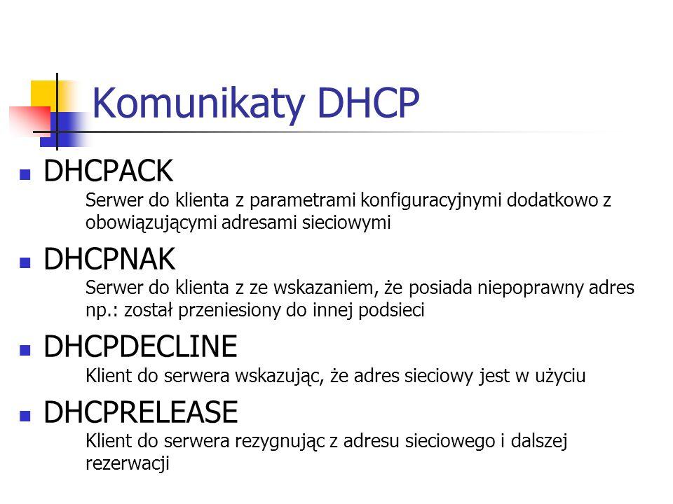 Komunikaty DHCP DHCPACK Serwer do klienta z parametrami konfiguracyjnymi dodatkowo z obowiązującymi adresami sieciowymi DHCPNAK Serwer do klienta z ze wskazaniem, że posiada niepoprawny adres np.: został przeniesiony do innej podsieci DHCPDECLINE Klient do serwera wskazując, że adres sieciowy jest w użyciu DHCPRELEASE Klient do serwera rezygnując z adresu sieciowego i dalszej rezerwacji