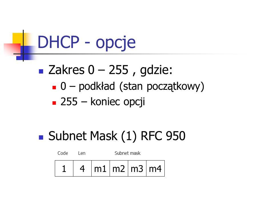 DHCP - opcje Zakres 0 – 255, gdzie: 0 – podkład (stan początkowy) 255 – koniec opcji Subnet Mask (1) RFC 950 14m1m2m3m4 CodeLenSubnet mask