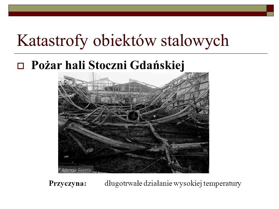 Katastrofy obiektów stalowych Pożar hali Stoczni Gdańskiej Przyczyna: długotrwałe działanie wysokiej temperatury
