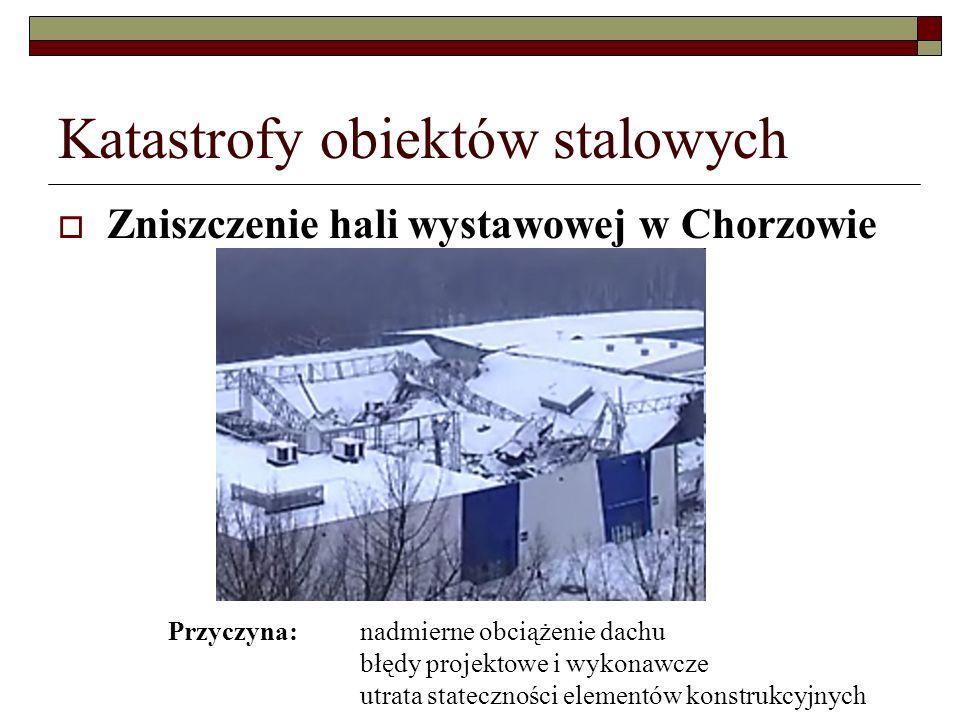 Katastrofy obiektów stalowych Zniszczenie hali wystawowej w Chorzowie Przyczyna: nadmierne obciążenie dachu błędy projektowe i wykonawcze utrata stateczności elementów konstrukcyjnych