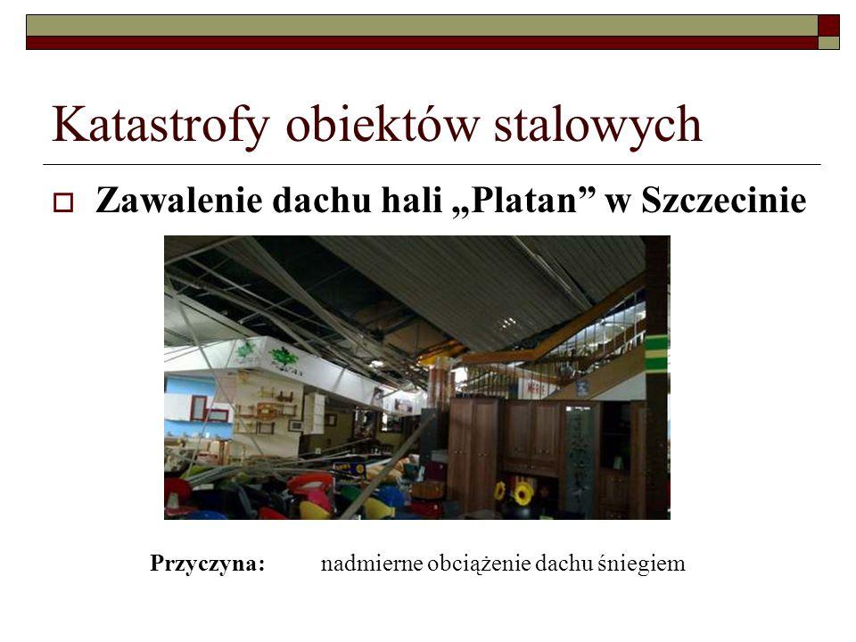 Katastrofy obiektów stalowych Zawalenie dachu hali Platan w Szczecinie Przyczyna: nadmierne obciążenie dachu śniegiem