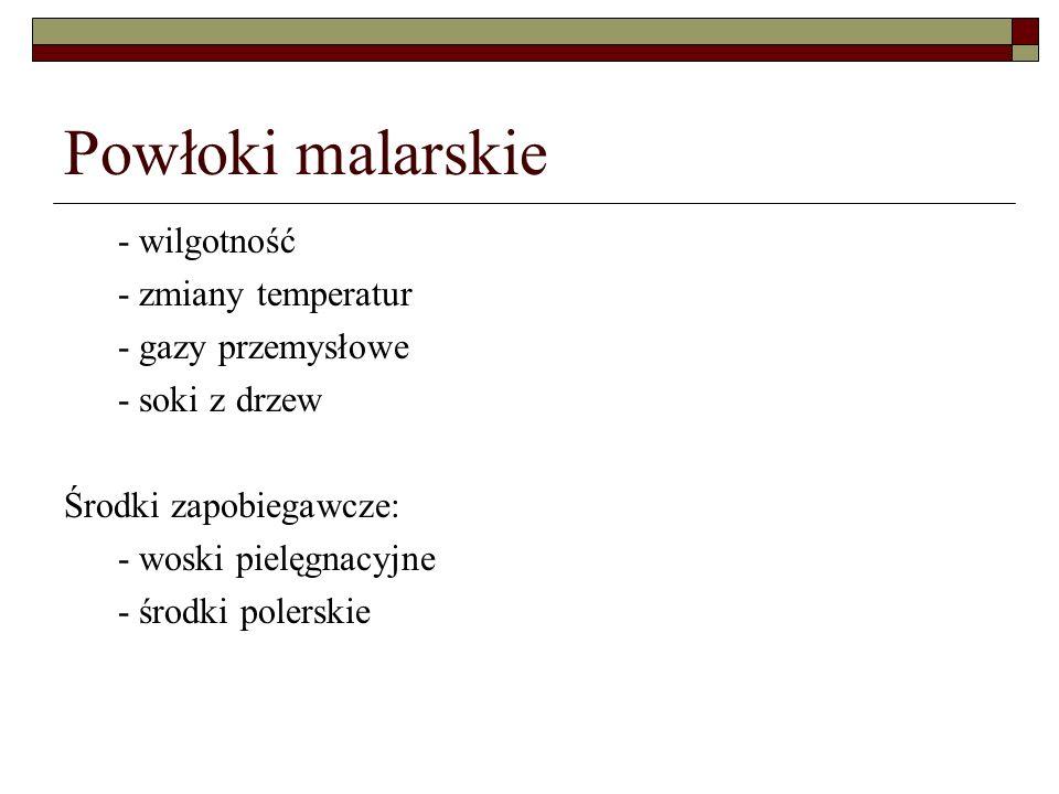 Powłoki malarskie - wilgotność - zmiany temperatur - gazy przemysłowe - soki z drzew Środki zapobiegawcze: - woski pielęgnacyjne - środki polerskie