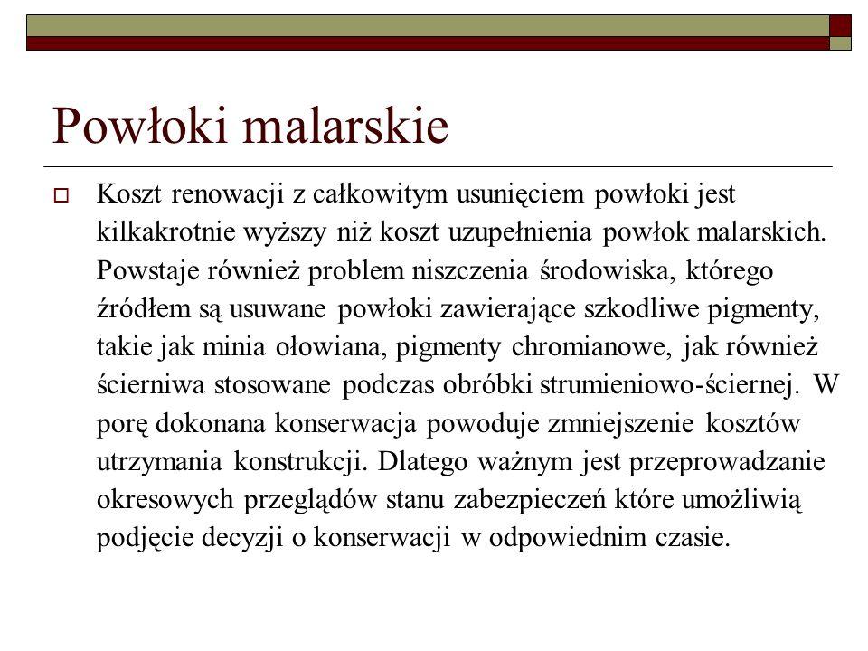 Powłoki malarskie Koszt renowacji z całkowitym usunięciem powłoki jest kilkakrotnie wyższy niż koszt uzupełnienia powłok malarskich.