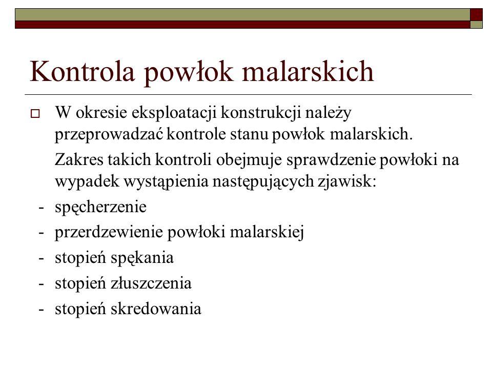 Kontrola powłok malarskich W okresie eksploatacji konstrukcji należy przeprowadzać kontrole stanu powłok malarskich.