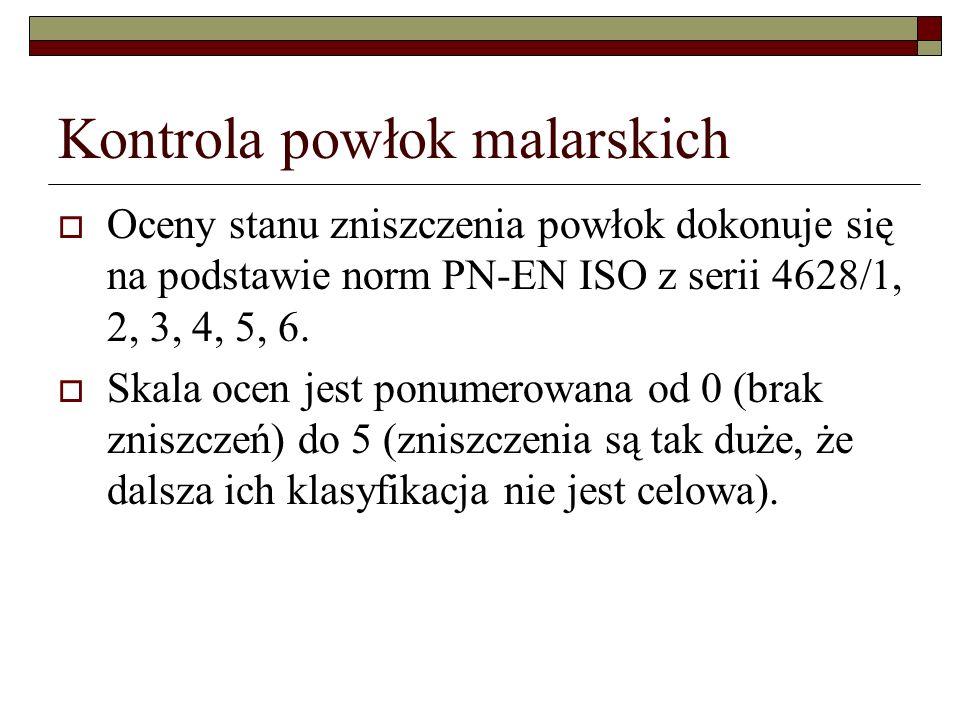 Kontrola powłok malarskich Oceny stanu zniszczenia powłok dokonuje się na podstawie norm PN-EN ISO z serii 4628/1, 2, 3, 4, 5, 6.