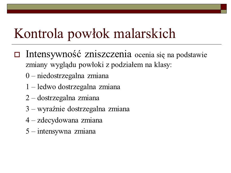 Kontrola powłok malarskich Intensywność zniszczenia ocenia się na podstawie zmiany wyglądu powłoki z podziałem na klasy: 0 – niedostrzegalna zmiana 1 – ledwo dostrzegalna zmiana 2 – dostrzegalna zmiana 3 – wyraźnie dostrzegalna zmiana 4 – zdecydowana zmiana 5 – intensywna zmiana