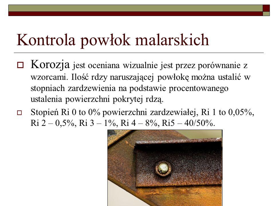 Kontrola powłok malarskich Korozja jest oceniana wizualnie jest przez porównanie z wzorcami.