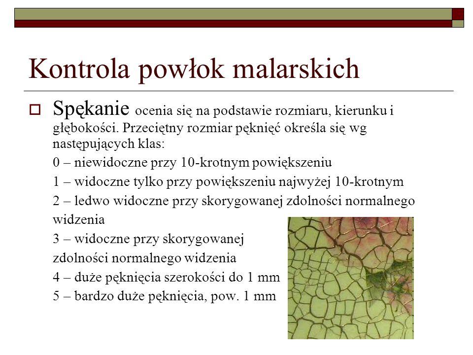 Kontrola powłok malarskich Spękanie ocenia się na podstawie rozmiaru, kierunku i głębokości.
