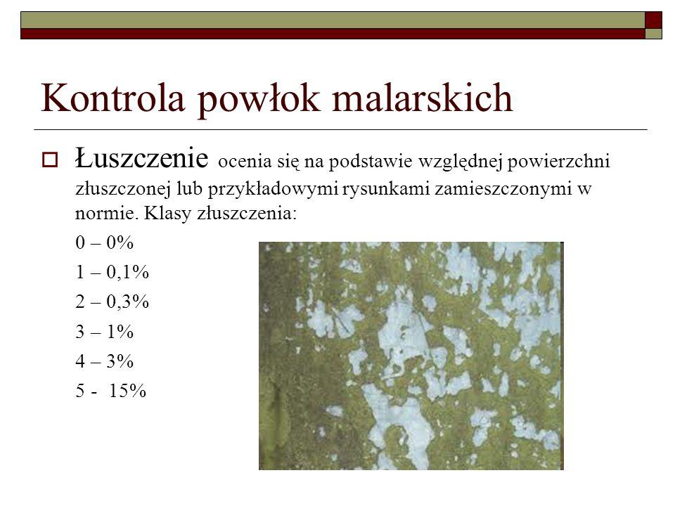 Kontrola powłok malarskich Łuszczenie ocenia się na podstawie względnej powierzchni złuszczonej lub przykładowymi rysunkami zamieszczonymi w normie.