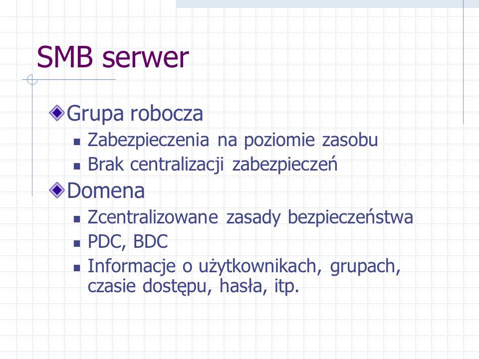 SMB serwer Grupa robocza Zabezpieczenia na poziomie zasobu Brak centralizacji zabezpieczeń Domena Zcentralizowane zasady bezpieczeństwa PDC, BDC Informacje o użytkownikach, grupach, czasie dostępu, hasła, itp.