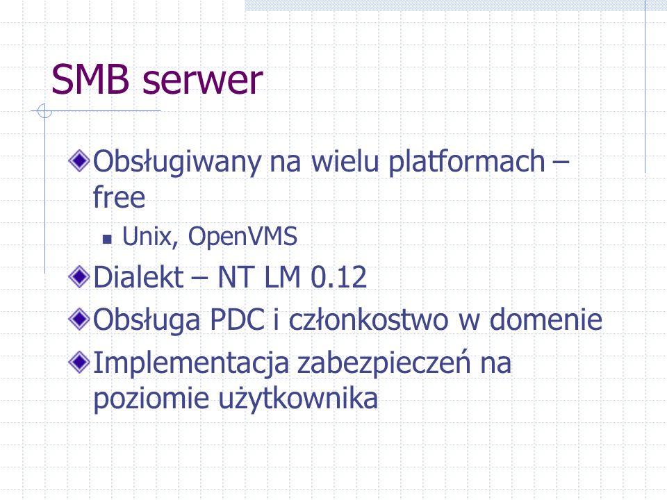 SMB serwer Obsługiwany na wielu platformach – free Unix, OpenVMS Dialekt – NT LM 0.12 Obsługa PDC i członkostwo w domenie Implementacja zabezpieczeń na poziomie użytkownika