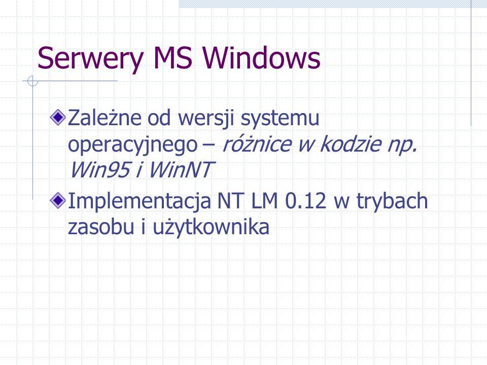 Serwery MS Windows Zależne od wersji systemu operacyjnego – różnice w kodzie np.