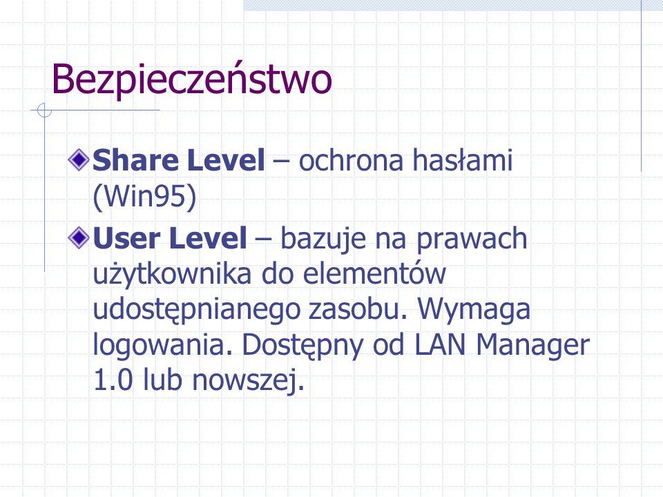Bezpieczeństwo Share Level – ochrona hasłami (Win95) User Level – bazuje na prawach użytkownika do elementów udostępnianego zasobu.