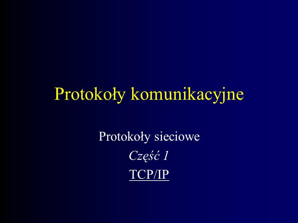 Protokoły komunikacyjne Protokoły sieciowe Część 1 TCP/IP