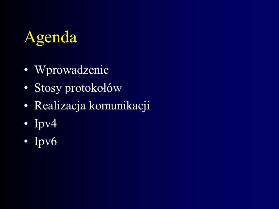 Agenda Wprowadzenie Stosy protokołów Realizacja komunikacji Ipv4 Ipv6