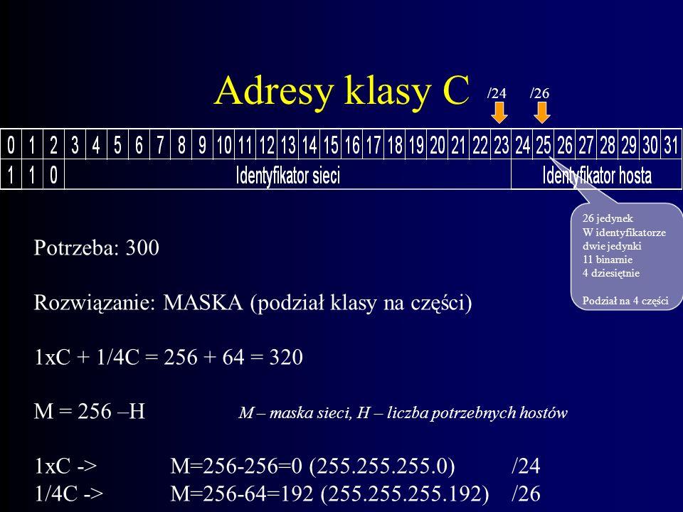 Adresy klasy C Potrzeba: 300 Możliwości: 1xB (65535), 2xC (512) Straty: (B) -65235, (C) -212