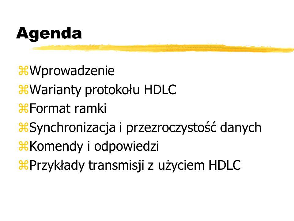 Agenda zWprowadzenie zWarianty protokołu HDLC zFormat ramki zSynchronizacja i przezroczystość danych zKomendy i odpowiedzi zPrzykłady transmisji z uży