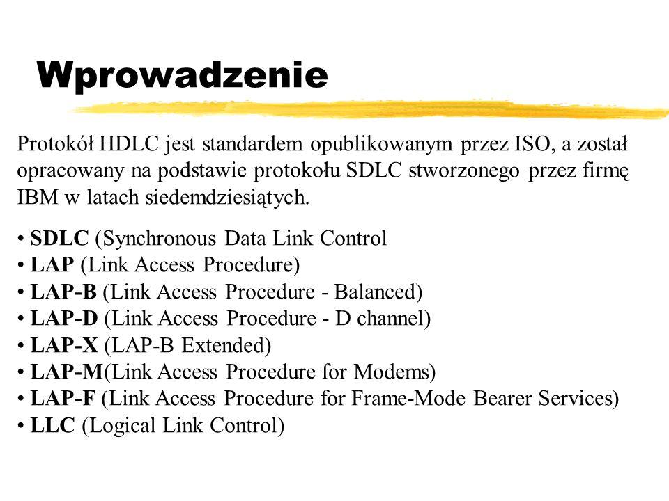 Wprowadzenie Protokół HDLC jest standardem opublikowanym przez ISO, a został opracowany na podstawie protokołu SDLC stworzonego przez firmę IBM w lata