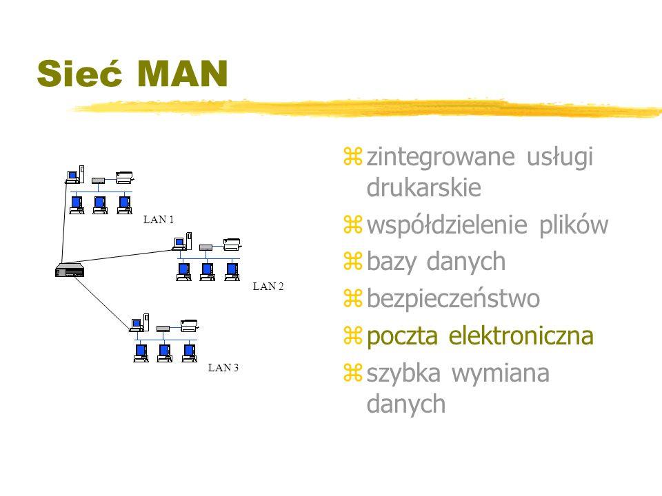 Sieć MAN z zintegrowane usługi drukarskie z współdzielenie plików z bazy danych z bezpieczeństwo z poczta elektroniczna z szybka wymiana danych LAN 1
