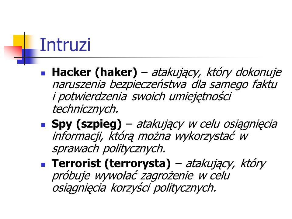 Intruzi Hacker (haker) – atakujący, który dokonuje naruszenia bezpieczeństwa dla samego faktu i potwierdzenia swoich umiejętności technicznych. Spy (s