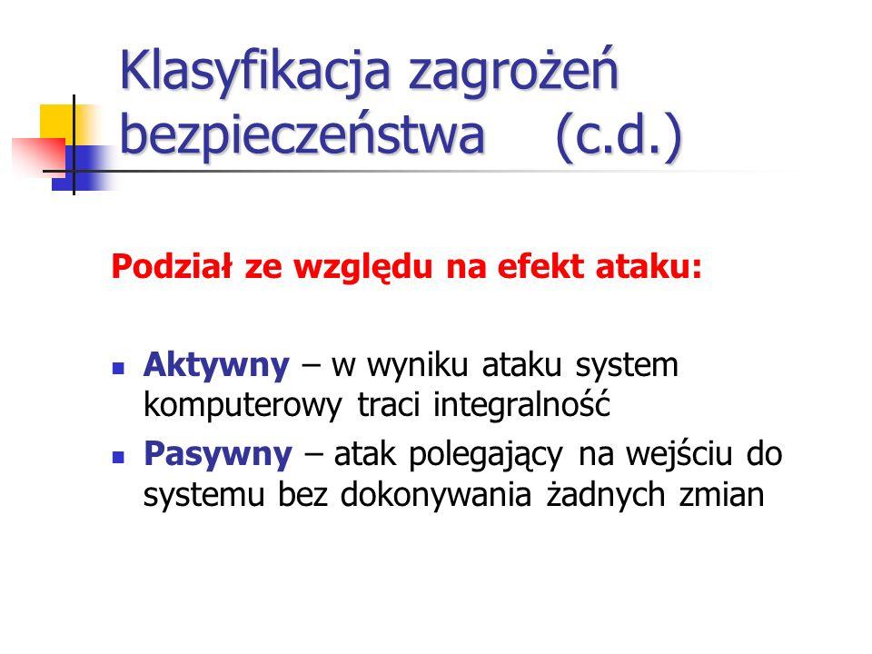 Klasyfikacja zagrożeń bezpieczeństwa(c.d.) Podział ze względu na efekt ataku: Aktywny – w wyniku ataku system komputerowy traci integralność Pasywny –