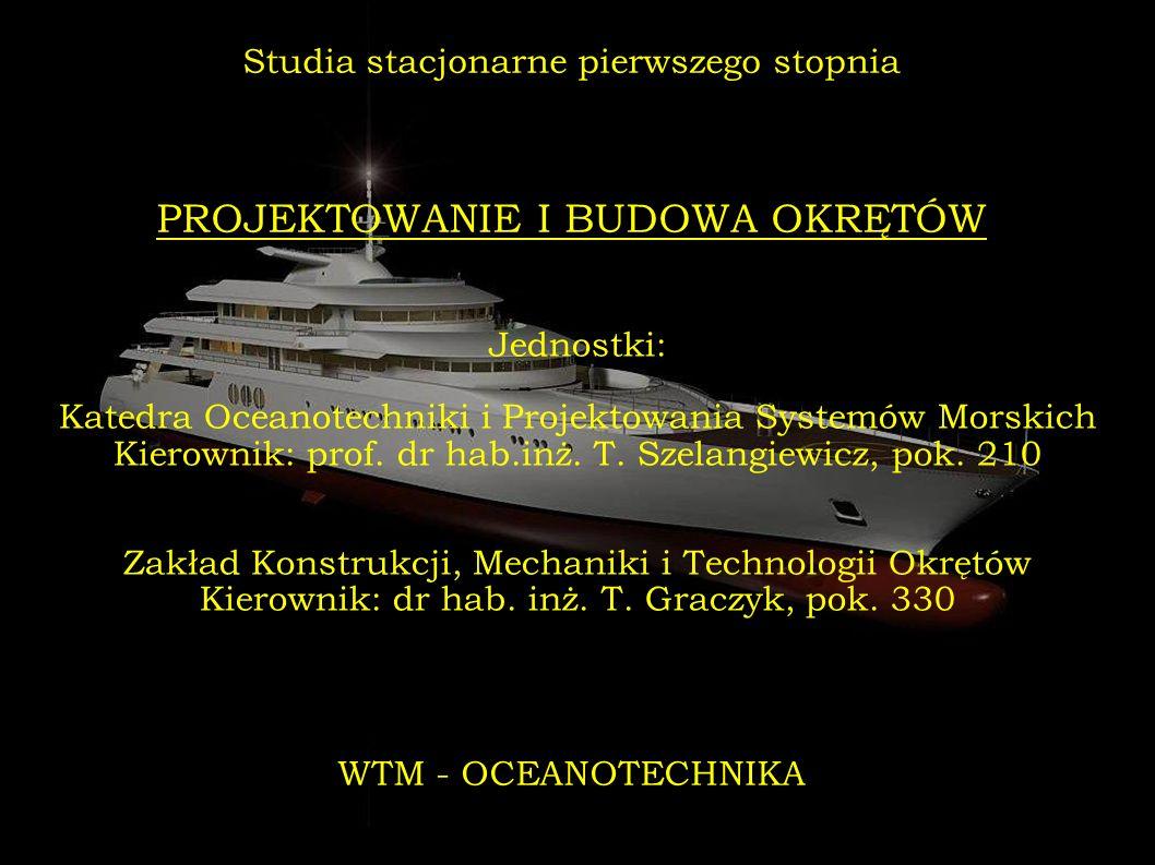 Jednostki: Katedra Oceanotechniki i Projektowania Systemów Morskich Kierownik: prof. dr hab.inż. T. Szelangiewicz, pok. 210 Zakład Konstrukcji, Mechan