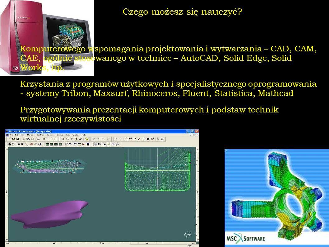 Czego możesz się nauczyć? Komputerowego wspomagania projektowania i wytwarzania – CAD, CAM, CAE, ogólnie stosowanego w technice – AutoCAD, Solid Edge,
