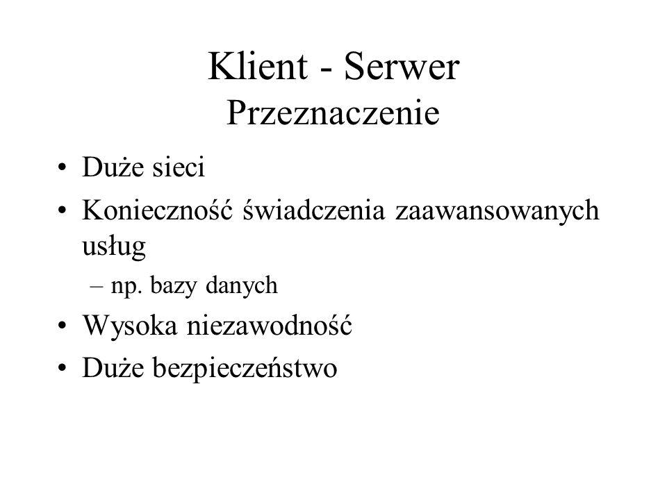 Klient - Serwer Przeznaczenie Duże sieci Konieczność świadczenia zaawansowanych usług –np.