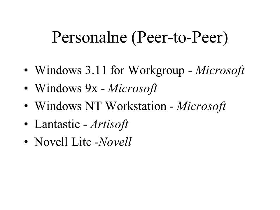 Personalne (Peer-to-Peer) Windows 3.11 for Workgroup - Microsoft Windows 9x - Microsoft Windows NT Workstation - Microsoft Lantastic - Artisoft Novell Lite -Novell