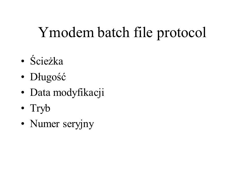 Ymodem batch file protocol Ścieżka Długość Data modyfikacji Tryb Numer seryjny