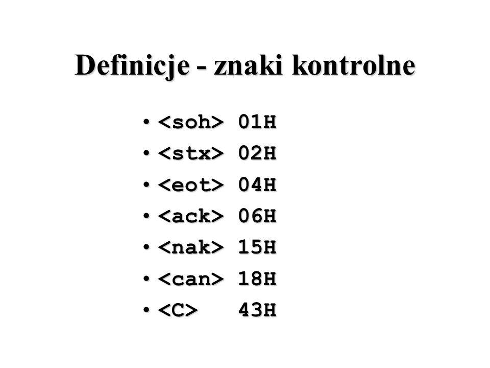 Definicje - znaki kontrolne 01H 01H 02H 02H 04H 04H 06H 06H 15H 15H 18H 18H 43H 43H