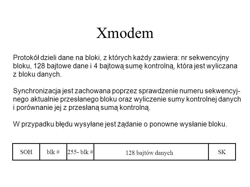 Xmodem Protokół dzieli dane na bloki, z których każdy zawiera: nr sekwencyjny bloku, 128 bajtowe dane i 4 bajtową sumę kontrolną, która jest wyliczana