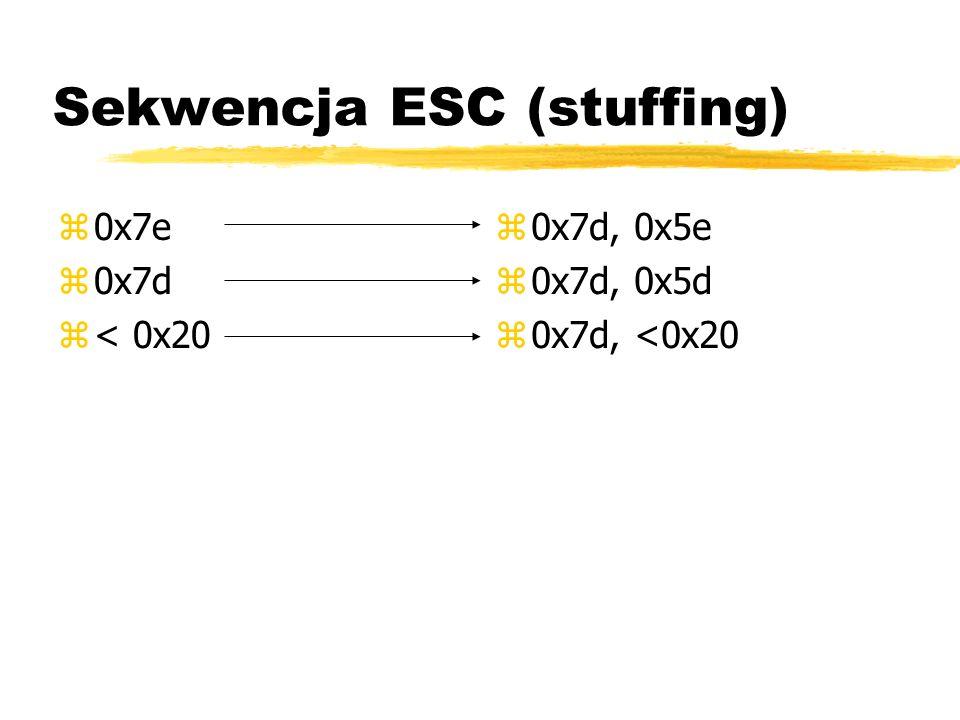 Sekwencja ESC (stuffing) z0x7e z0x7d z< 0x20 z 0x7d, 0x5e z 0x7d, 0x5d z 0x7d, <0x20