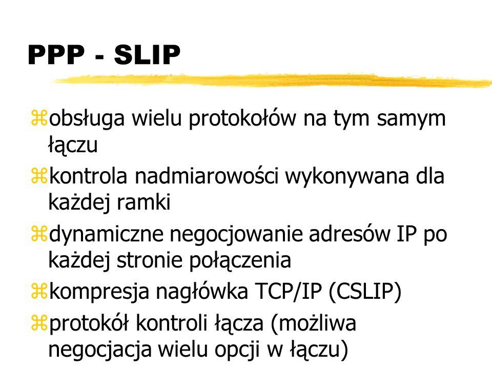 PPP - SLIP zobsługa wielu protokołów na tym samym łączu zkontrola nadmiarowości wykonywana dla każdej ramki zdynamiczne negocjowanie adresów IP po każ