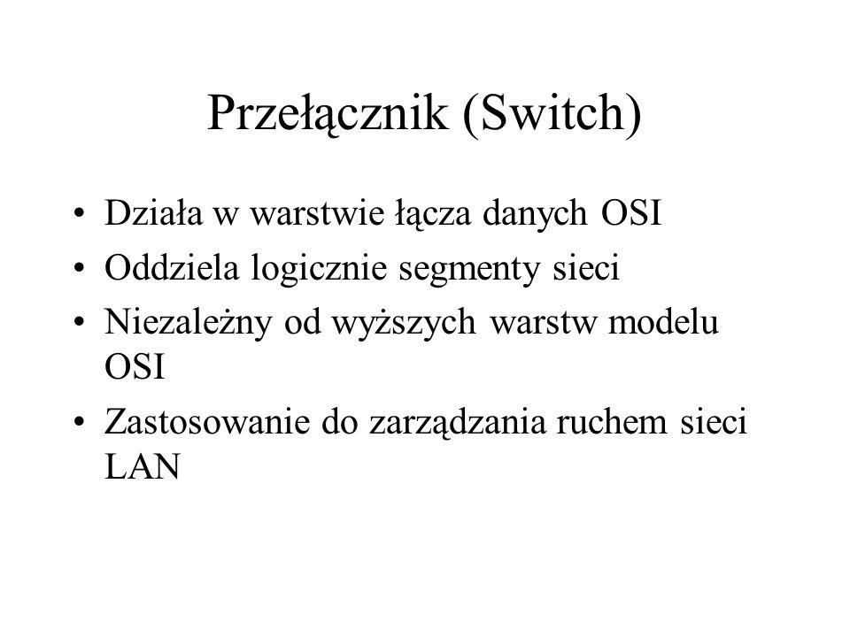 Przełącznik (Switch) Działa w warstwie łącza danych OSI Oddziela logicznie segmenty sieci Niezależny od wyższych warstw modelu OSI Zastosowanie do zar