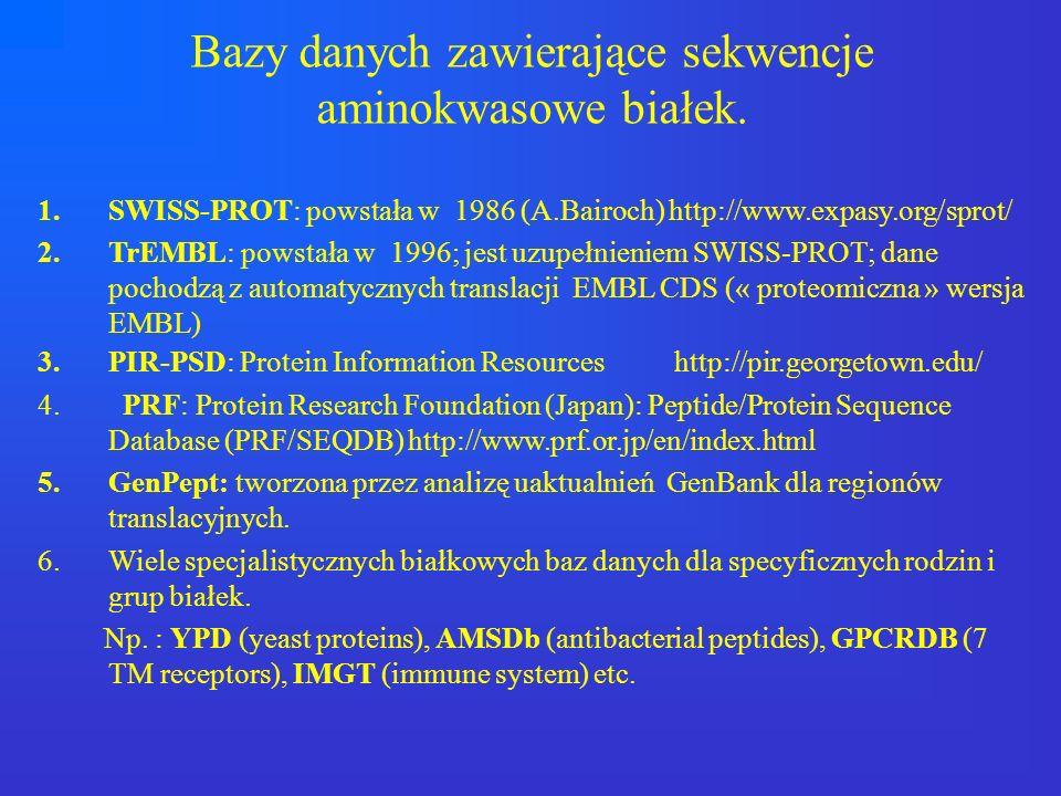 Bazy danych zawierające sekwencje aminokwasowe białek. 1.SWISS-PROT: powstała w 1986 (A.Bairoch) http://www.expasy.org/sprot/ 2.TrEMBL: powstała w 199