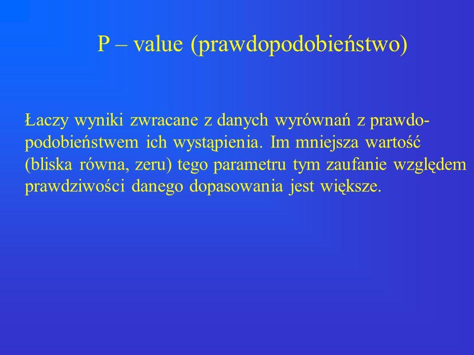 P – value (prawdopodobieństwo) Łaczy wyniki zwracane z danych wyrównań z prawdo- podobieństwem ich wystąpienia. Im mniejsza wartość (bliska równa, zer