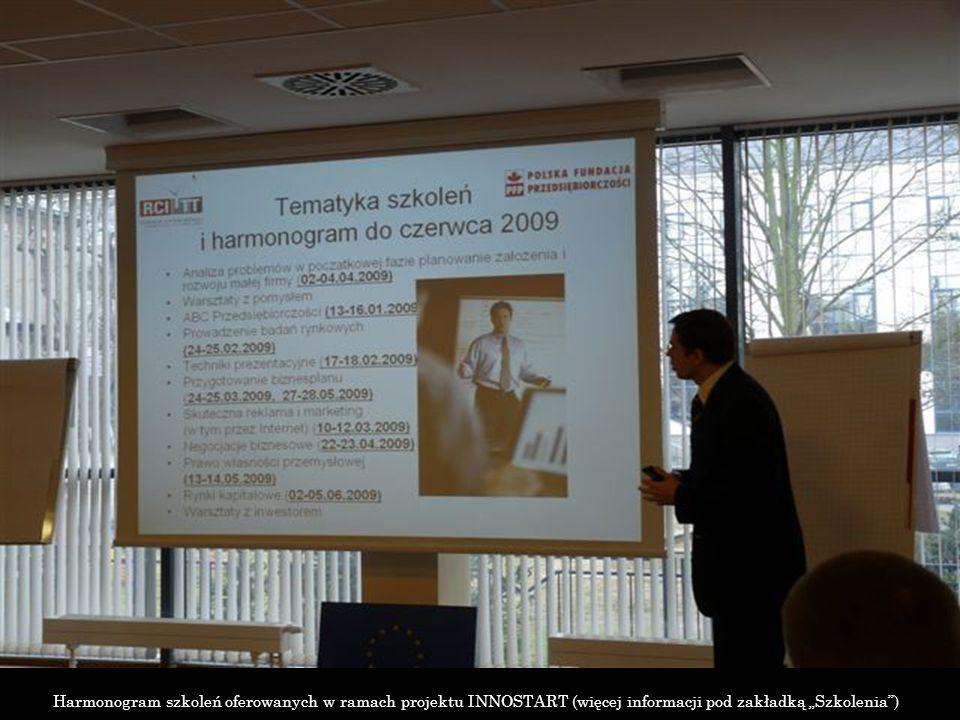 Harmonogram szkoleń oferowanych w ramach projektu INNOSTART (więcej informacji pod zakładką Szkolenia)